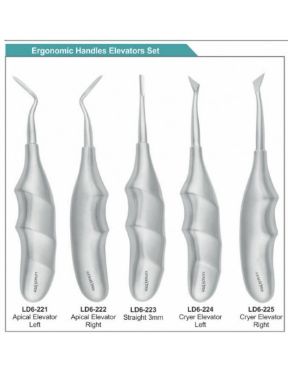Dental Apical Elevators Set Of 5, Ergonomic Hollow Handle
